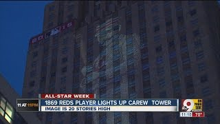 Red Stockings player lights up Carew Tower