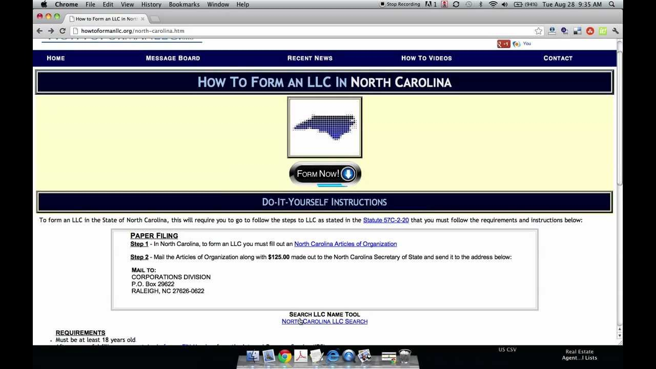 How to Form an LLC in North Carolina - YouTube