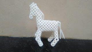 Plastic wire 3D Horse Step by Step Clear Tutorial /  கூடை வயரில் குதிரை   செய்தல் (2/3)
