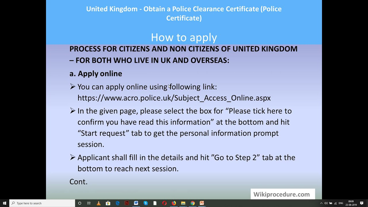 United Kingdom - Obtain a Police Clearance Certificate