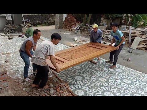 Cửa gỗ đẹp , lắp cửa gỗ 5phân