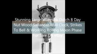 Vintage Warmink Dutch 8 Day Nut Wood Sallander Wall Clock & Moon Phase