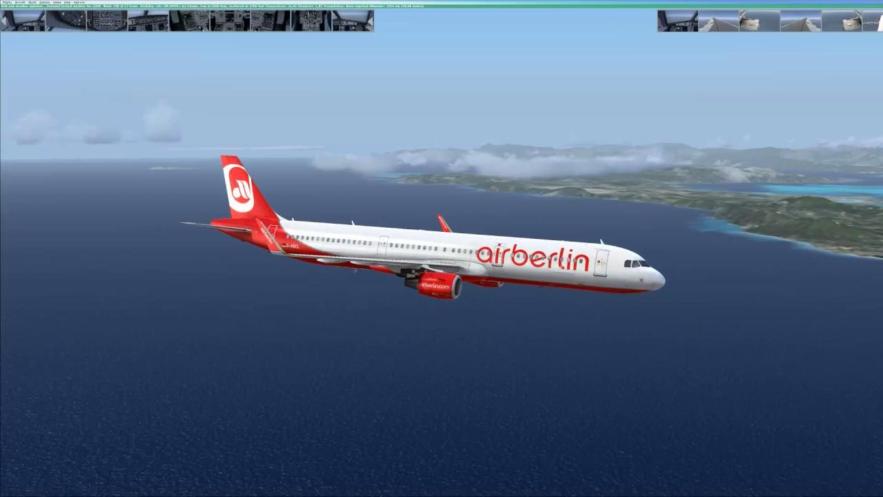 [FSX] AirBerlin Aerosoft Airbus a321-211 (Sharklets) X Landung in  Korfu/Kerkyra (LGKR)