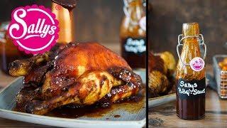 Barbeque Soße – Sallys BBQ Soße mit Brathähnchen aus dem Ofen