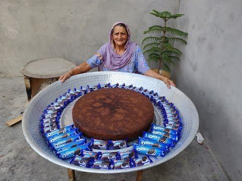 giant-oreo-cake-recipe-prepared-by-my-granny-|-oreo-biscuit-cake-|-asmr-video-|-veg-village-food