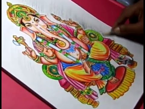 how to draw lord ganesha color drawing