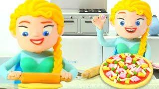 PRINCESS SHOWS HOW TO MAKE PIZZA ❤ SUPERHERO PLAY DOH CARTOONS FOR KIDS