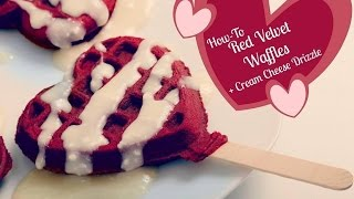 Red Velvet Heart Shaped Waffles With Cream Cheese Drizzle Recipe