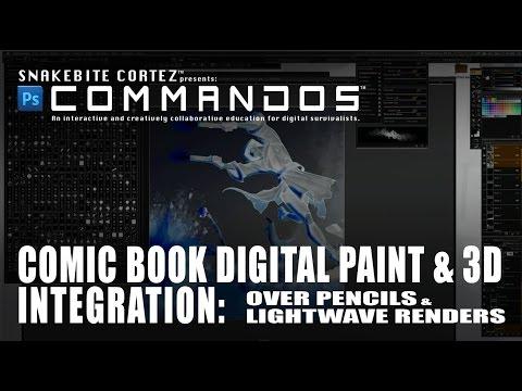 Comic Book Digital Paint & 3D Integration: Pencils with Lightwave Renders:PSC