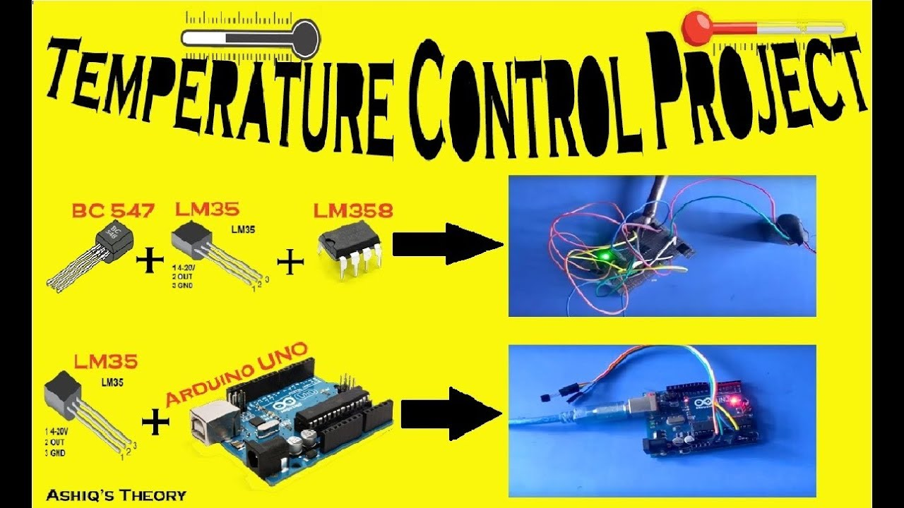 Temperature Controlled Alarm Project using IC LM35 & LM358 with Arduino  Project || Ashiqs Theory