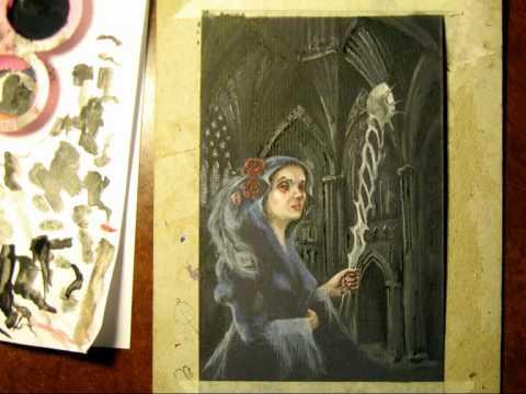 Dark Gothic theme acrylic painting Daniel C. Chiriac fine art