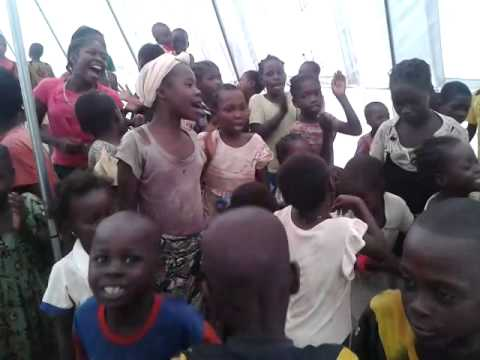 A rare moment of joy for children displaced by violence in Bambari, Central African Republic