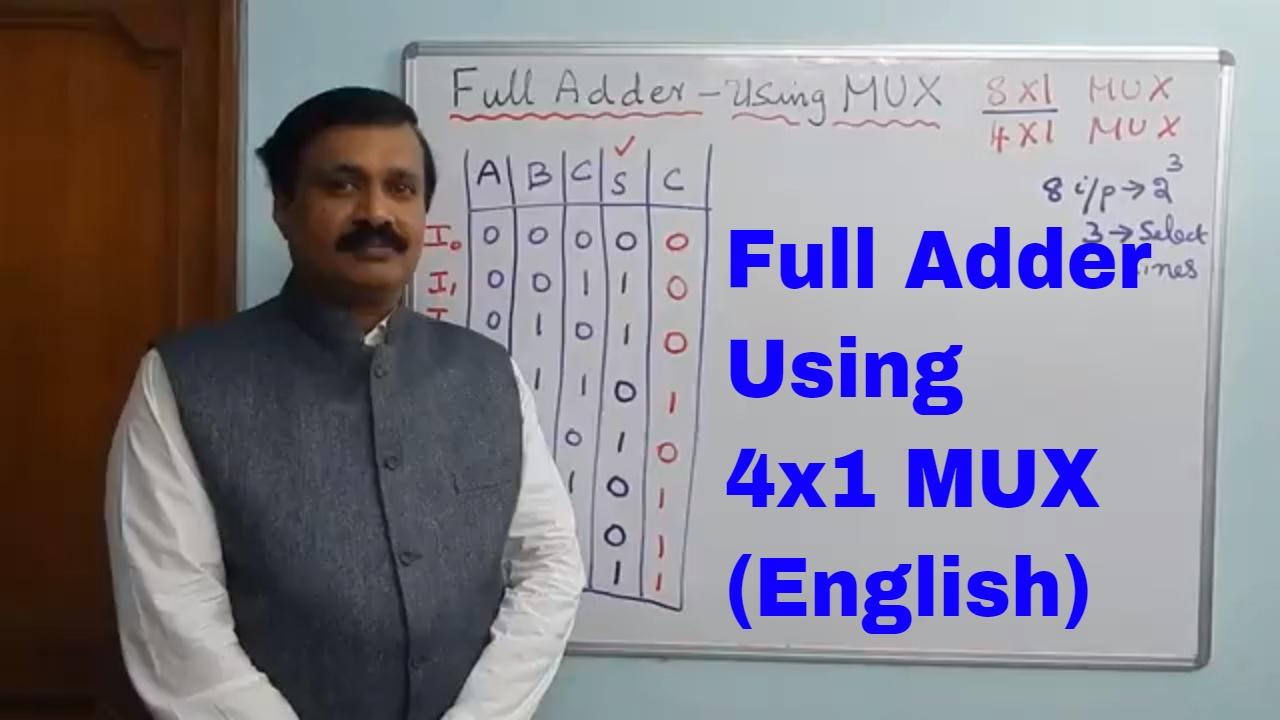 Full Adder Using 4x1 Multiplexermux 2 Digital Electronics Logic Design Circuit English