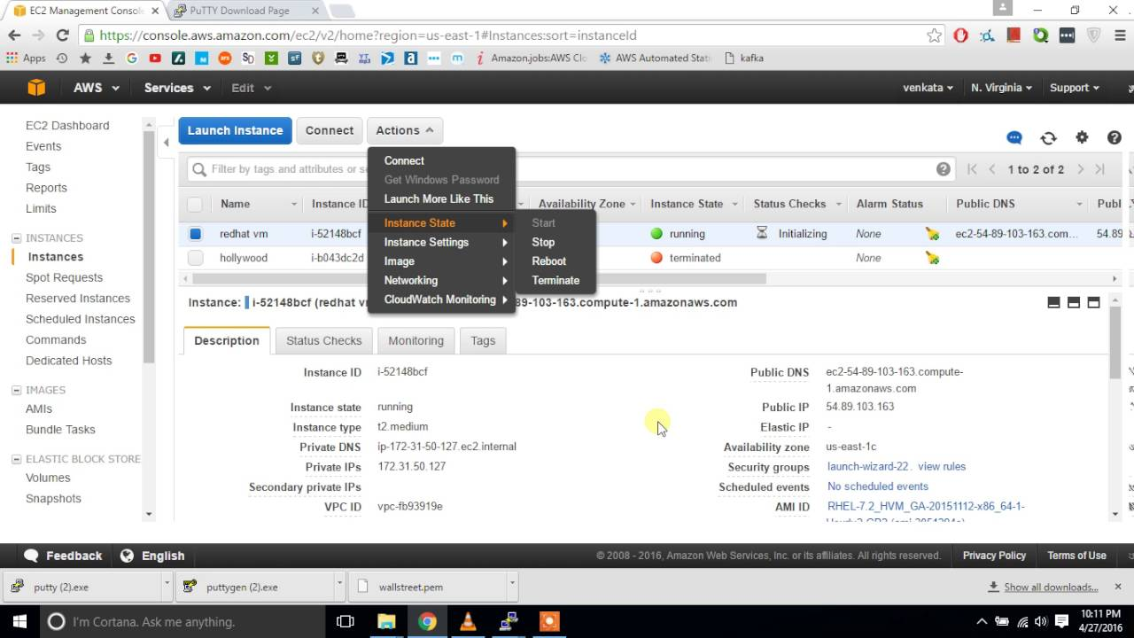 How to create redhat linux instance in AWS and how to access it from  windows putty client #video 2