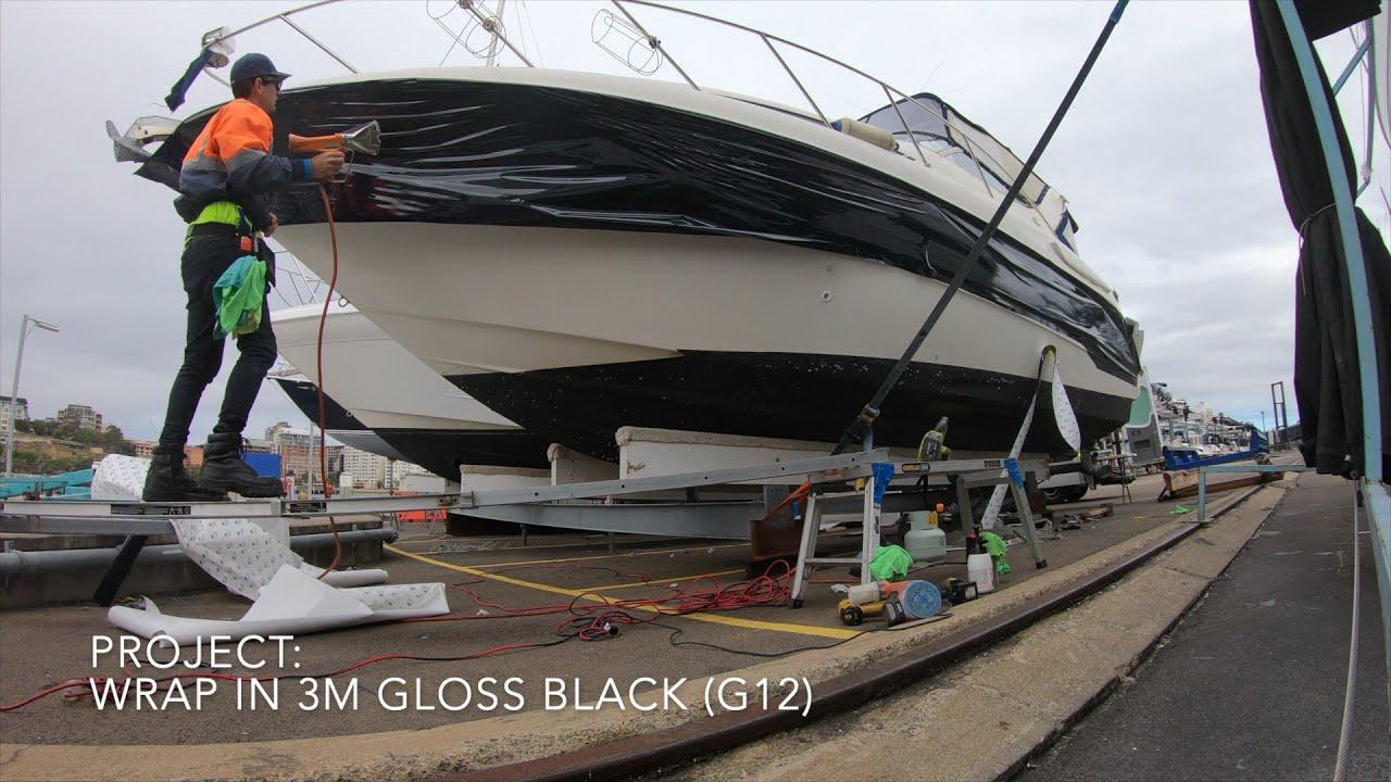 Vinyl Boat Wrap - Bayliner 3055 in 3M Gloss Black