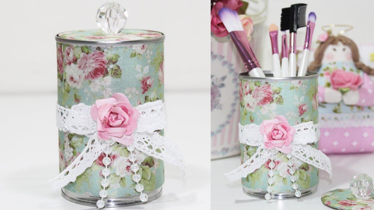 Como fazer lata decorada estilo shabby chic reciclagem - Como decorar reciclando ...