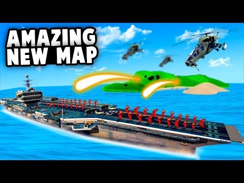 NEW Aircraft Carrier Vs Island Base MAP! Epic Artillery Strikes! (Ravenfield Best Mods)