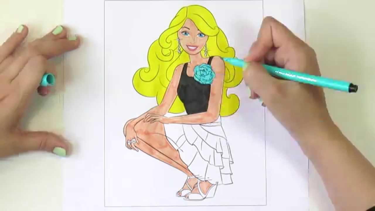 раскраска мультик для детей раскрашиваем куклу Barbie