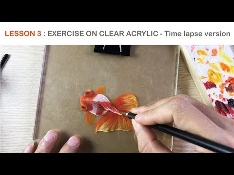 Lesson 3 (Exercise) : 3D Goldfish Painting On Clear Acrylic - TIME LAPSE version