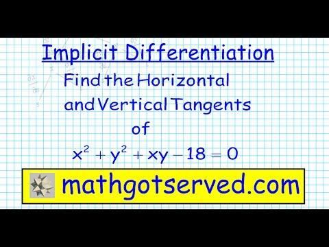 Cu3L4b Implicit Differentiation pt II Vertical and Horizontal Tangent lines Calculus AB BC