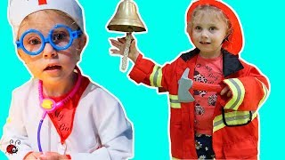 Melissa e DOCTOR si POMPIER | Melissa  Pretend Play in Doctor and Firefighter