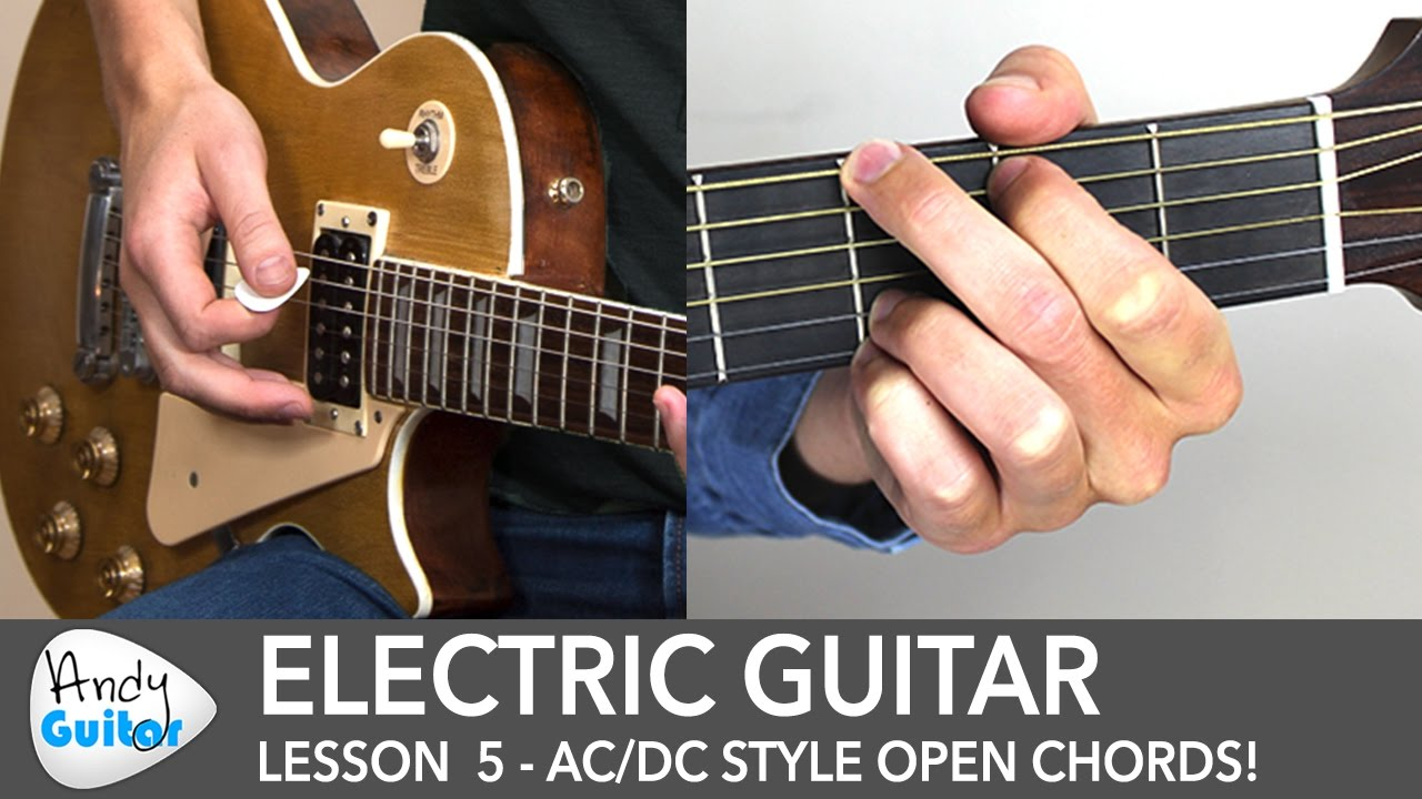 Electric Guitar Lesson 5 Acdc Style Chords For Beginners Youtube