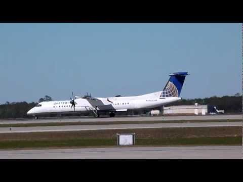 United Express (Colgan Air) Bombardier Q400 Hard Landing. Strong Crosswind.