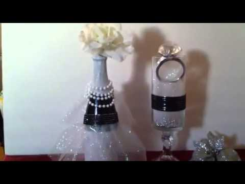 Diy bridal shower centerpieces youtube for Wedding dress vase centerpiece