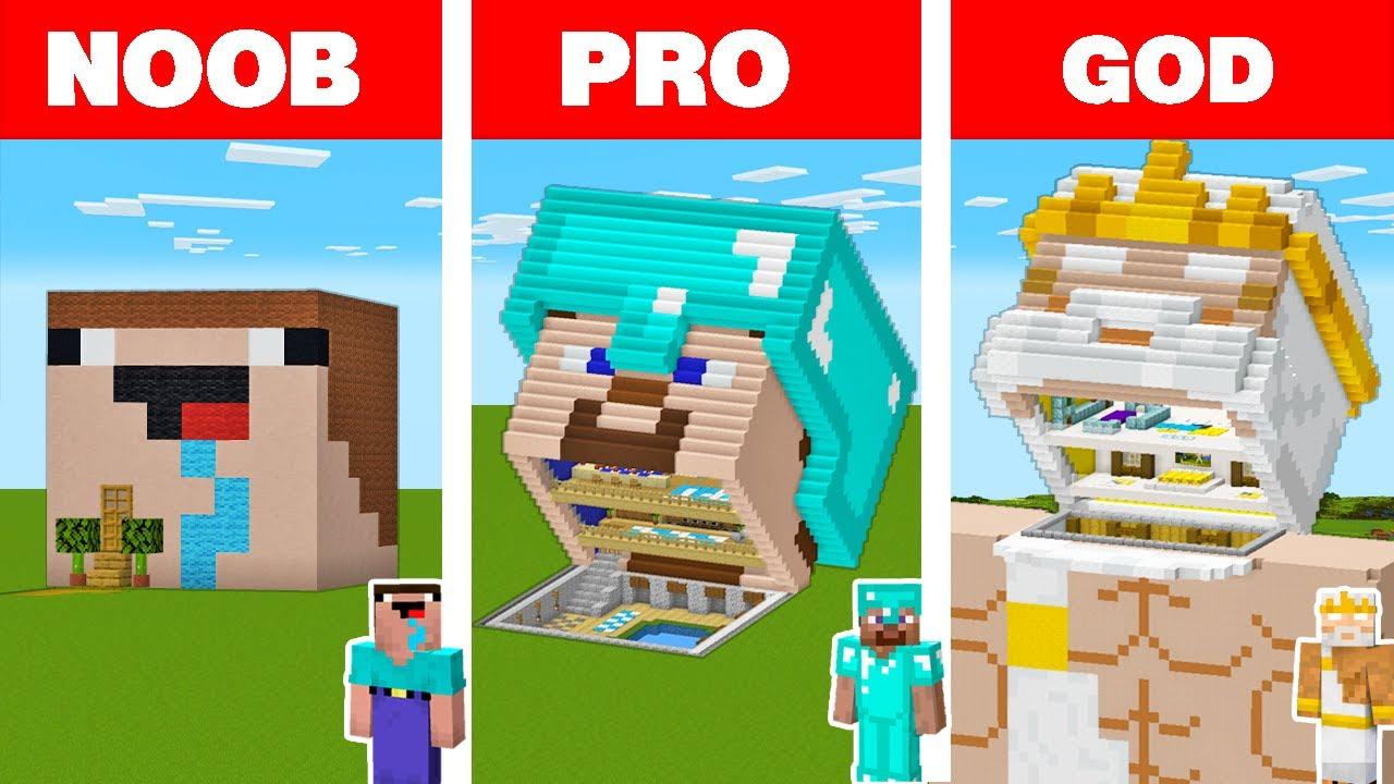 Minecraft NOOB vs PRO vs GOD: BLOCK HEAD HOUSE BUILD CHALLENGE in Minecraft Animation