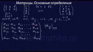 Матрицы. Основные определения. Часть 1.