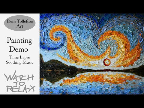 Relax & meditate: Painting with a spoon time lapse landscape painting demo with soothing music