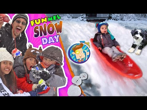 SNOW MUCH FUN! DON'T EAT YELLOW SNOW w  Puppy Oreo  Tilted Snowman  FUNnel Vision Snow Day Vlog