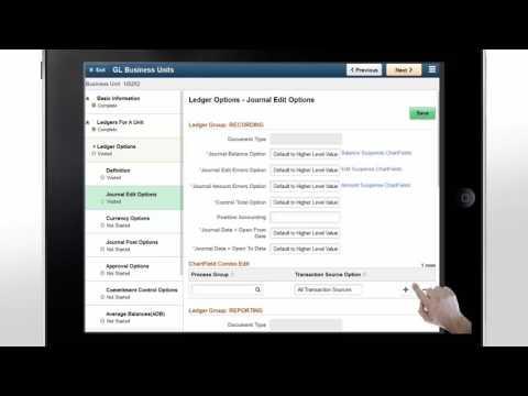 PeopleSoft Fluid General Ledger Business Unit Management