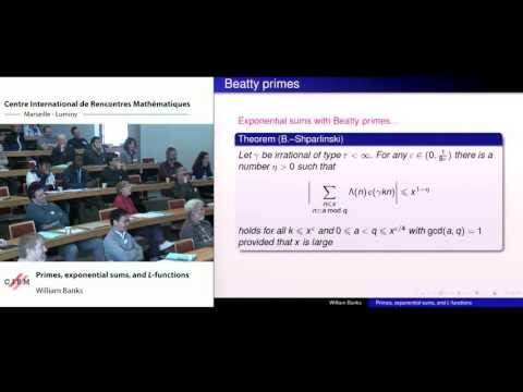 William Banks:  Primes, exponential sums, and L-functions