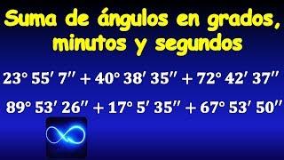 05. Suma de ángulos en grados, minutos y segundos, ejercicio resuelto