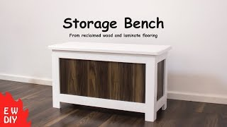 DIY Storage Bench made from recycled wood and left over laminate flooring. The wood came from old bench seats in a school...