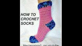 HOW TO CROCHET SOCKS, Demo for 6 - 10 yrs, Pattern # 1064, Video #1311, easy heel method
