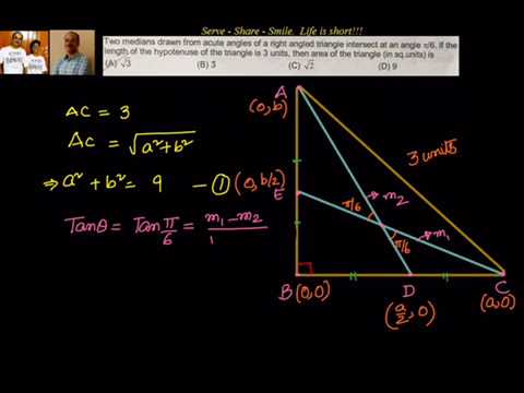 Coordinate geometry find area of right angle triangle given the coordinate geometry find area of right angle triangle given the angle between 2 medians ccuart Images