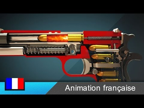 Comment fonctionne une arme de poing (Colt 1911) ? (Animatio