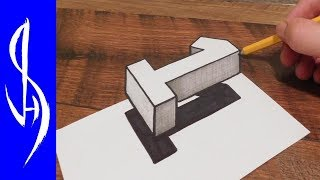 How to Draw Floating 3D Number One Optical Illusion - #1