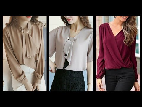 Stylish Chiffon Plain Print Shirts And Blouses Ideas// Top Designs For Girls (2020)