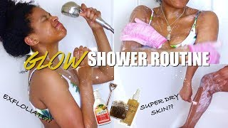 My SIMPLE & QUICK GLOW SHOWER ROUTINE FOR YOUTHFUL SKIN (Exfoliating, Shaving 101, Brighter Skin)
