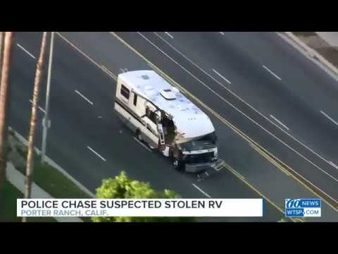 Stolen RV shredded as woman leads police on chase through Los Angeles