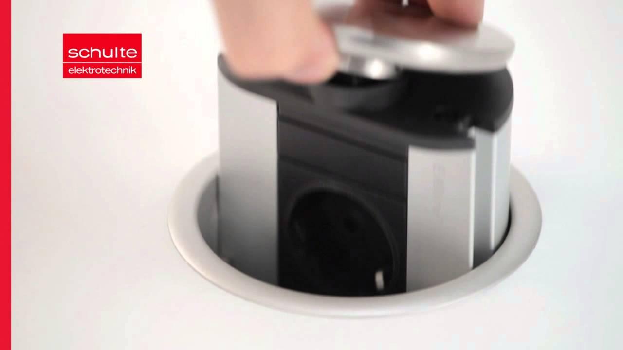 Evoline Powerport Versenkbare Steckdose Fur Einbau In Die Arbeitsplatte Im Kuechenkonsum Youtube