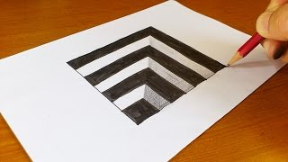 very easy how to draw 3d hole for kids anamorphic illusion 3d trick art on paper