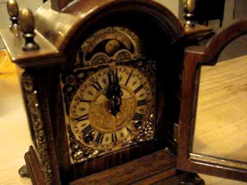 Vintage Dutch Clock Wuba Warmink bracket mantle shelf mantel clock moonphase