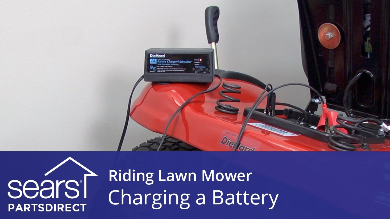 hight resolution of charging a riding lawn mower battery