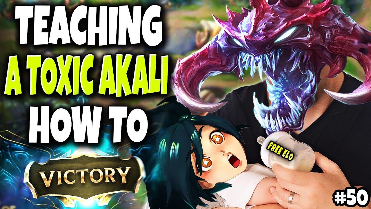 Teaching a High Elo Toxic Akali HOW TO WIN 🔥 Road To Master #50 LoL Cho'Gath vs Maokai S10 Gameplay