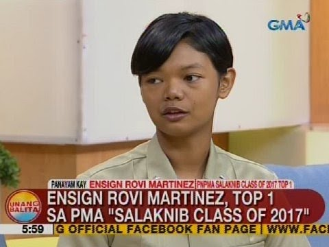 UB: Ensign Rovi Martinez, Top 1 sa PMA 'Salaknib class of 2017': Subscribe to the GMA News and Public Affairs channel: https://www.youtube.com/user/gmanews  Visit the GMA News and Public Affairs Portal: http://www.gmanews.tv  Connect with us on: Facebook: http://www.facebook.com/gmanews Twitter: http://www.twitter.com/gmanews