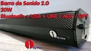 Видео Barra de sonido 1byone. 20Wx2+Bluetooth+HDMI ARC+USB+LINE RCA+LINE AUX 3,5MM+OPT (автор: Tecno Asiático)